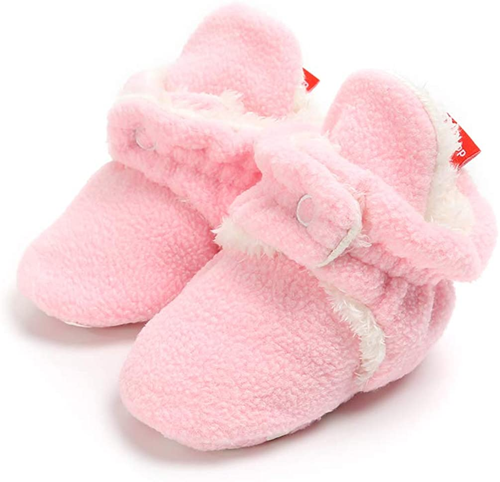 ACAREU Infant Baby Cozy Fleece Booties with Non Skid Bottom Newborn Crib Winter Shoes