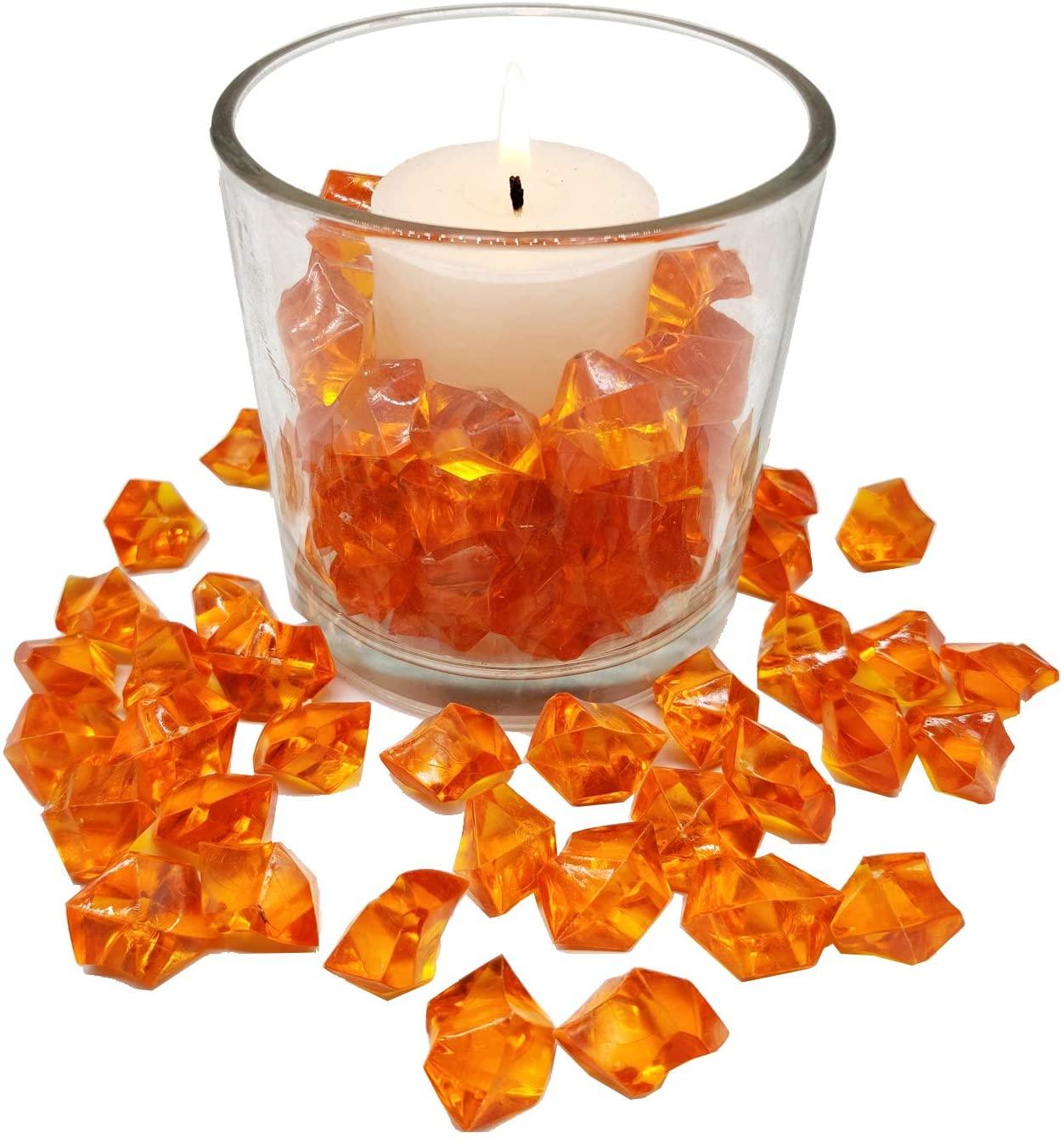 Filler 175 PCS(1LB) Orange Acrylic Ice Rocks,Autumn Decor Fake Diamonds,Crystal Dazzlers Ice Stones for Table Scatters,Vase, Candle Display,Treasure Gemstones,Crafts