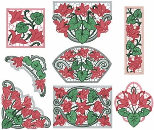 ABC Machine Embroidery Designs Set - Cyclamens Lace - 8 Embroidery Designs - CD