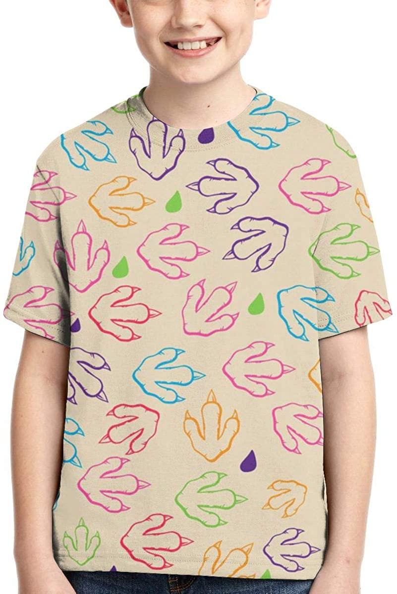 BHDF-XQ Chicken Feet Boys Summer Sport Party Suitable Short Sleeves T Shirts