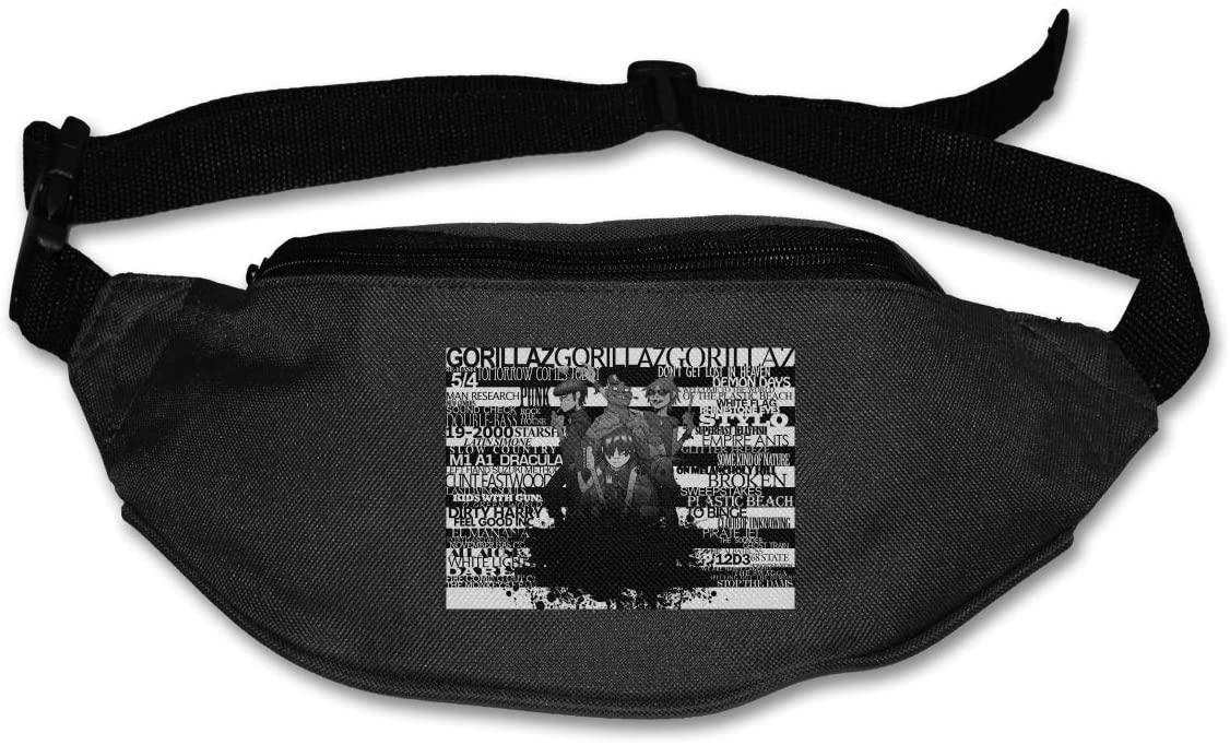 Gorillaz Running Waist Pack Adjustable High Capacity Fitness Workout Fanny Pack for Men Women Black