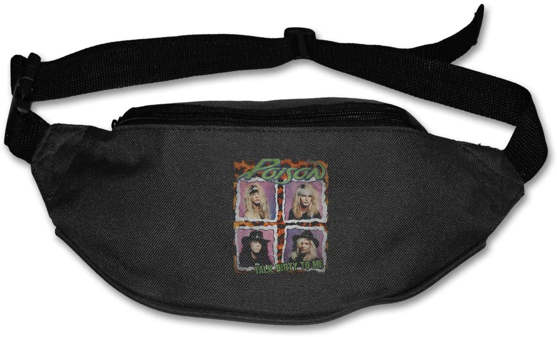 Poison Squares Talk Dirty to Me Rock Band Pack Runners Belt Fanny Pack Running Belt Waist Black