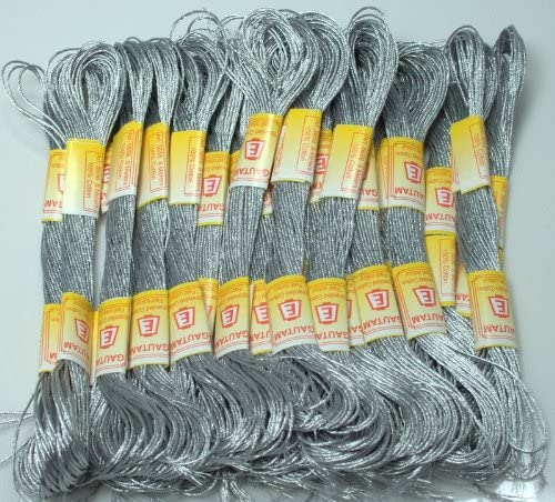 ThreadNanny New 24 Metallic Silver Skeins of 100% Cotton Metallic Thread for Hand Embroidery - THREADSRUS Brand