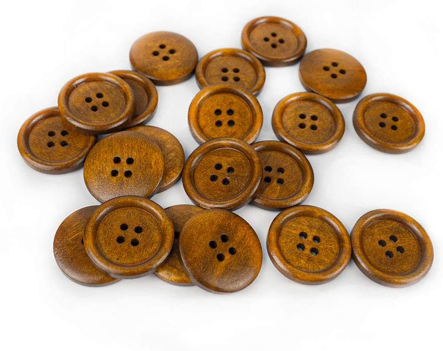 50 Pcs 1 inch Wooden Buttons, 25mm Premium Buttons for Sewing Craft Clothing, Brown Color, Natural Chestnut Made, 4 Holes