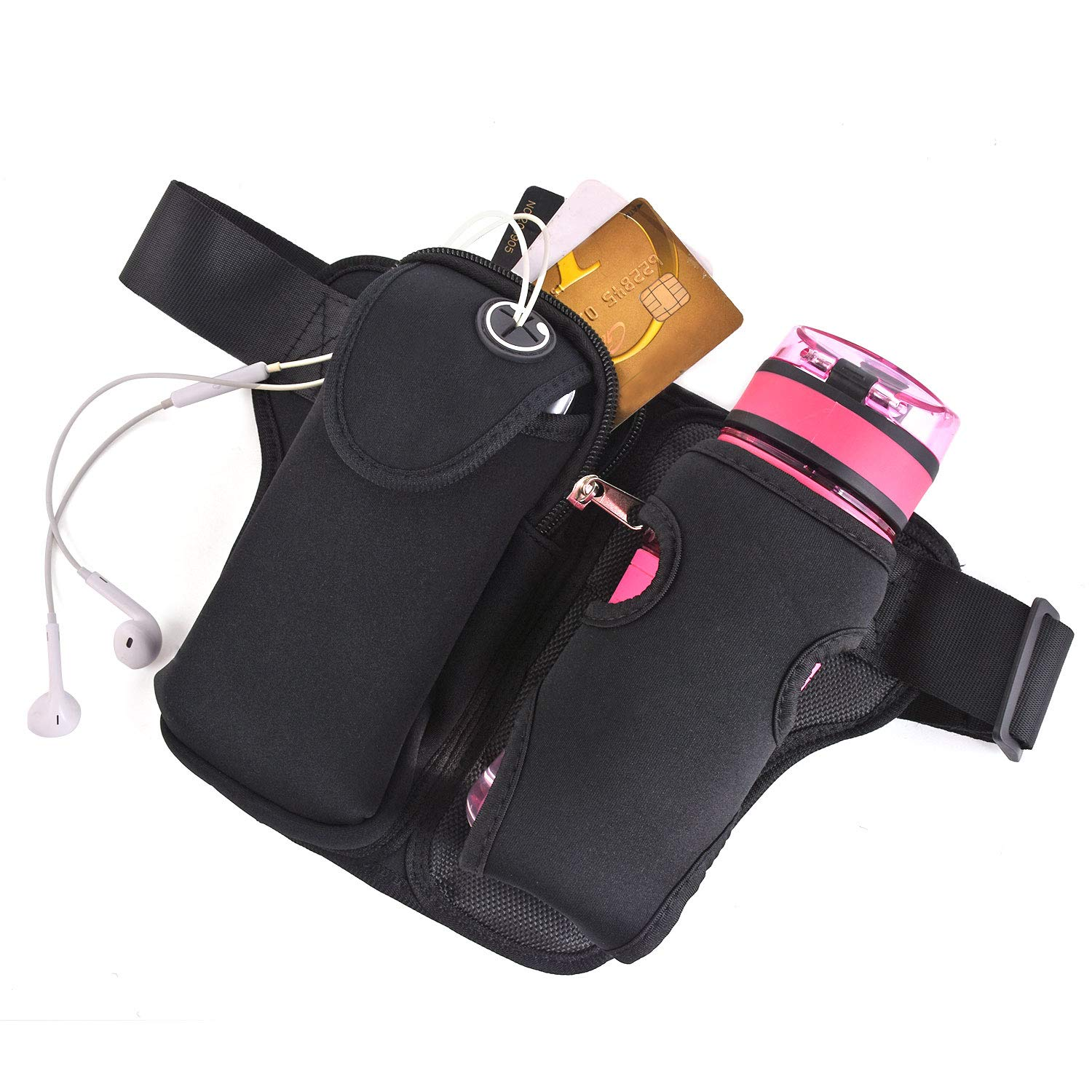 Fanny Pack with Water Bottle Holder for Women Men Hiking Waist Bag Outdoors Travel Dog Walking Adjustable Large Waist Size fit for iPhone 8 Plus X XS 11 Pro and other Smartphones Under 6 inches