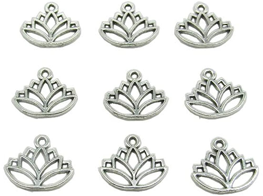 100 Pcs Lotus Flower Charm Pendants Beads Charms for Jewelry Making Crafting Findings