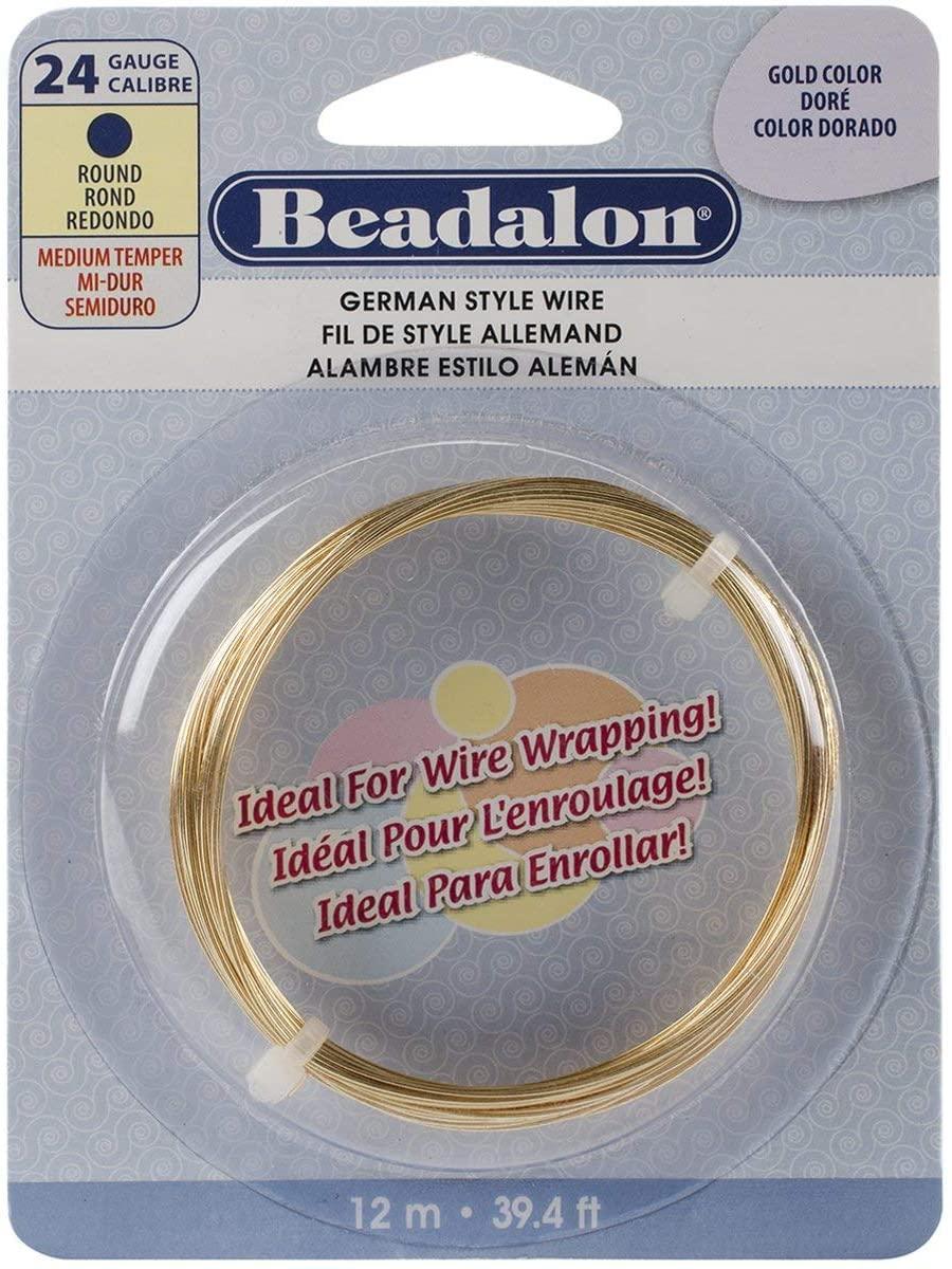 Beadalon German Style Wire-Gold Round - 24 Gauge, 37.4'