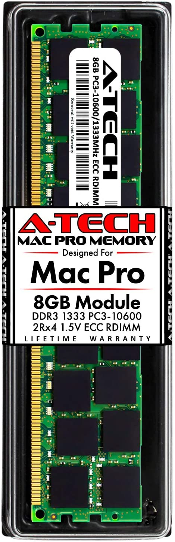 A-Tech 8GB ECC RDIMM Memory for Mac Pro Mid 2010 & Mid 2012 (MacPro5,1) | DDR3 1333MHz ECC Registered DIMM PC3-10600 Dual Rank 2Rx4 1.5V 240 Pin RAM Upgrade