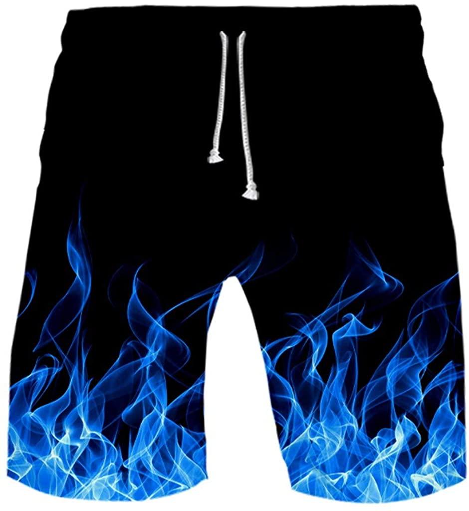 Smoxx Men's Belted Tactical Cargo Long Shorts Below Knee Length Multi Pocket 3/4 Capri Pants Flame Print Vacation Surf Shorts