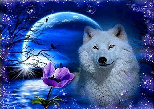 DIY 5D Diamond Painting Kit, White Wolf in The Moonlight Full Drill Tiger Embroidery Cross Stitch Arts Craft Canvas Wall Decor 16x12 inches
