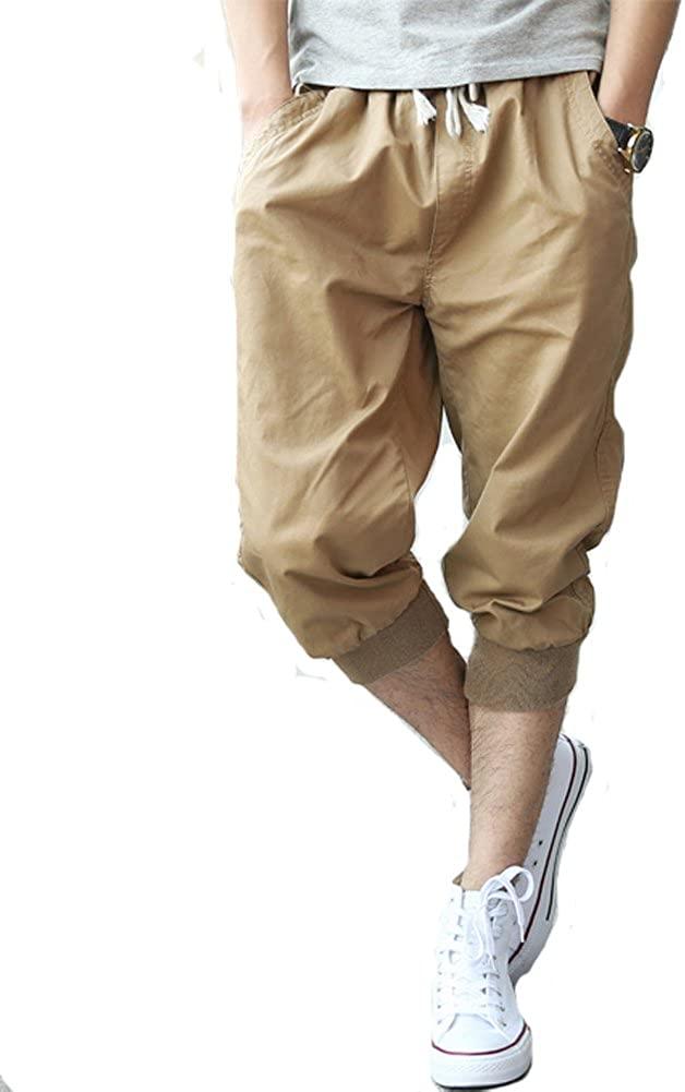 Tonwhar Mens Fashion Capris Shorts Elastic Waist Drawstring 3/4 Length Pants (34, Khaki)