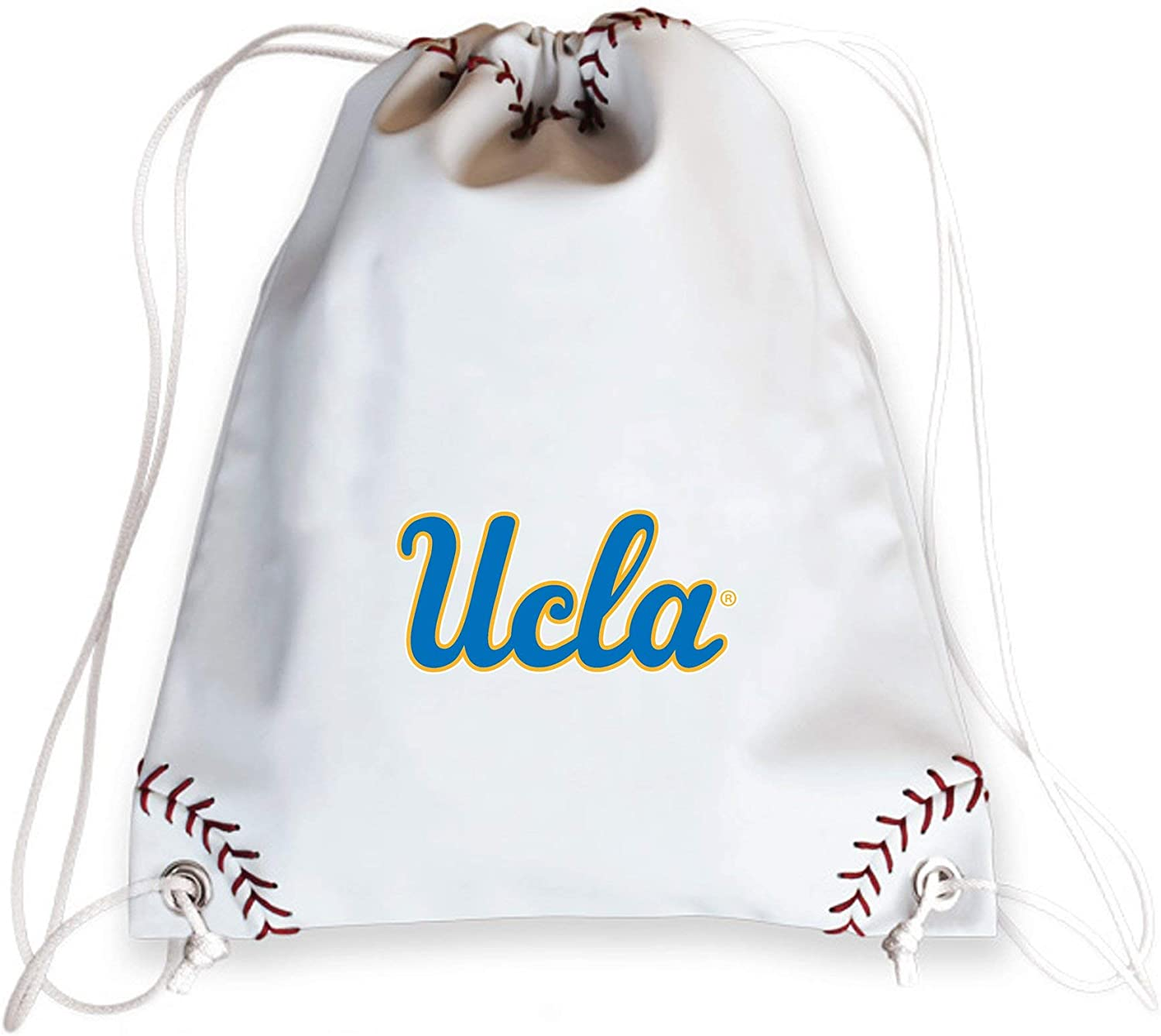 Zumer Sport UCLA Bruins Baseball Leather Drawstring Shoulder Backpack Bag - made from the same exact materials as a baseball - White with genuine red stitching