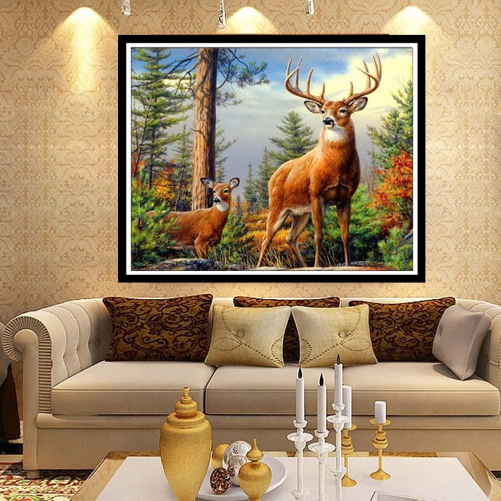 MEXUD-40X30 5D Deer Diamond Painting Cross Stitch Embroidery Rhinestone Decoration