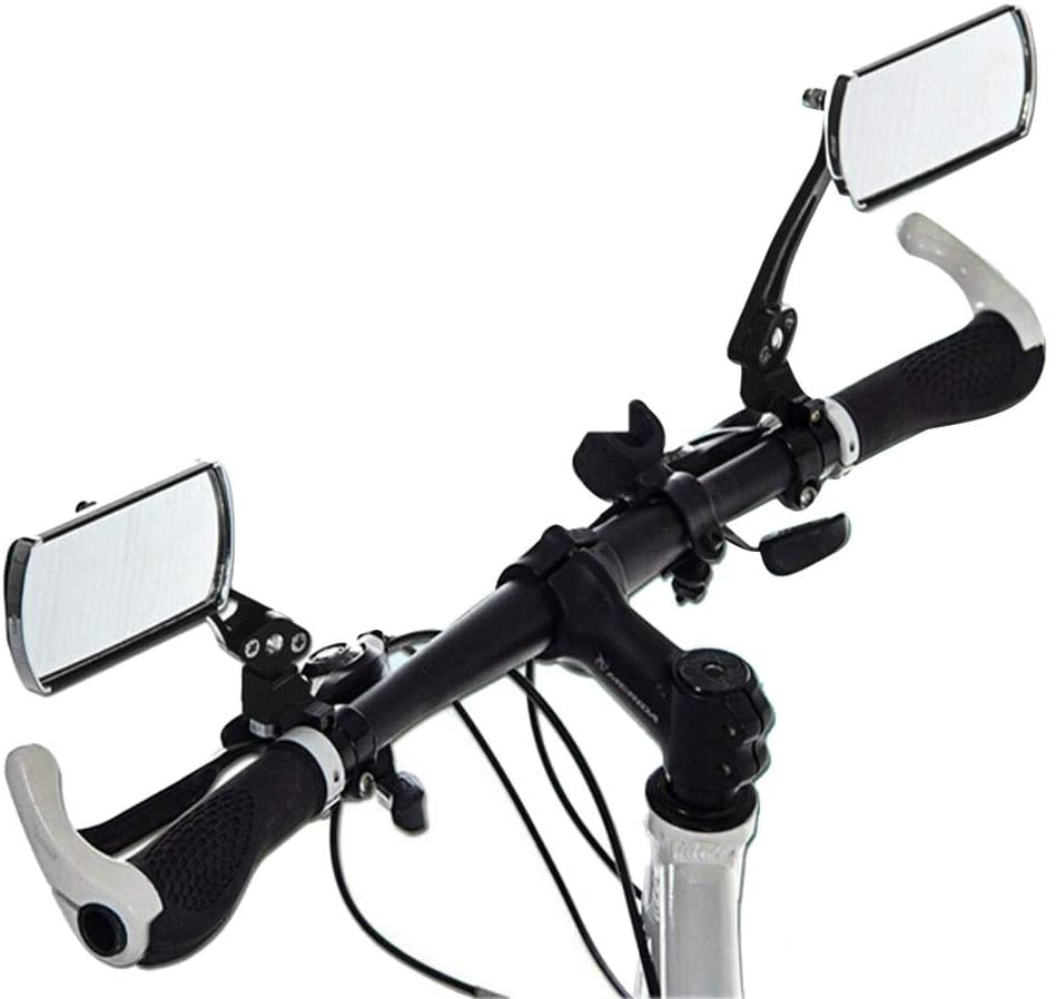 JPONLINE Durable 2PCS Aluminum Bike Mirror MTB Bicycle Adjustable Rearview Handlebar End Rear Back Fits Most Handlebar Bike Accessories