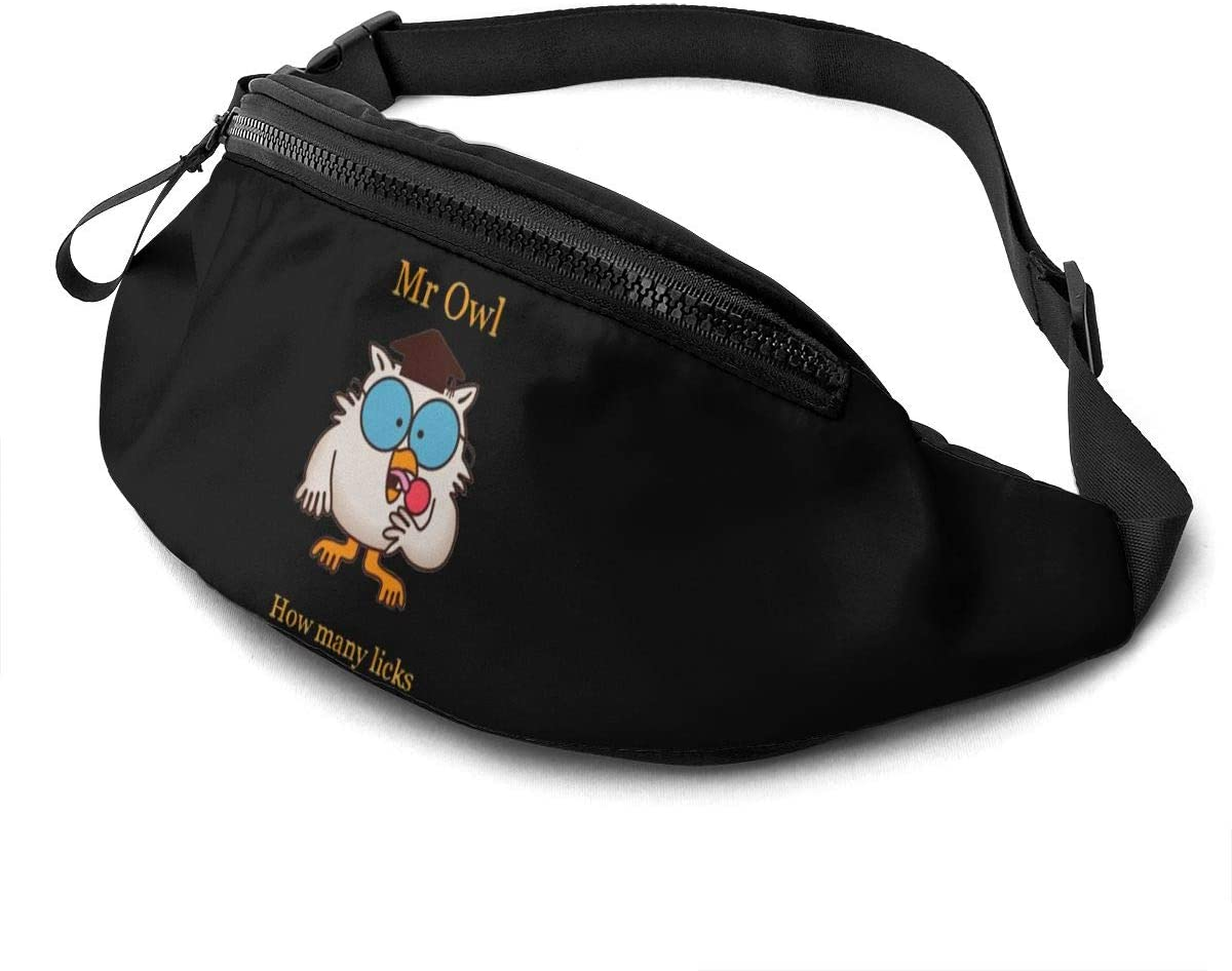 Qwtykeertyi Mr Owl How Many Licks Waist Pack Bag Fanny Pack for Men and Women Water Resistant Outdoor Exercise Travel Jogging Hiking Waterproof Flexible and Soft