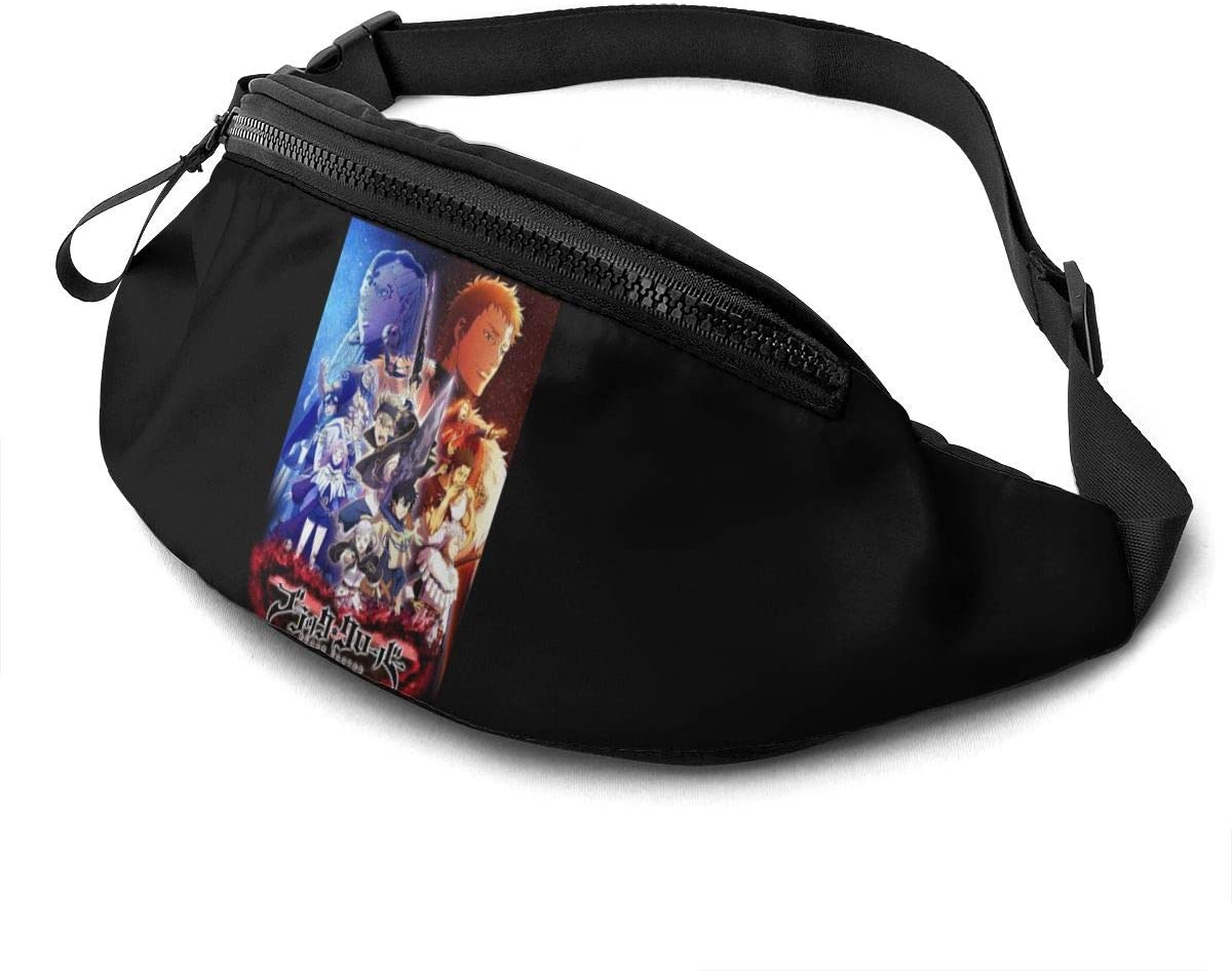 Qwtykeertyi Black Clover Waist Pack Bag Fanny Pack for Men and Women Water Resistant Outdoor Exercise Travel Jogging Hiking Waterproof Flexible and Soft
