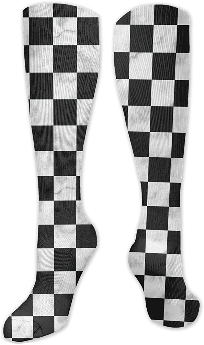 Men Women Knee High Socks Marble Chess Board Chessboard Training Hose Stockings