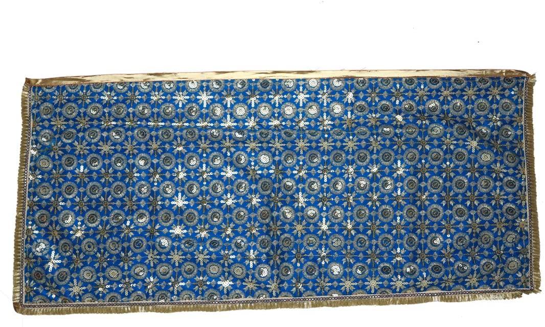 Blue Decorative Cloth Pooja Chunari (Size :- 36 Inches x 16 Inches) Chunni Puja Festival Decoration Chunr MATA Ki Chunri for Statue Chowki aasan Mat Posters Frame
