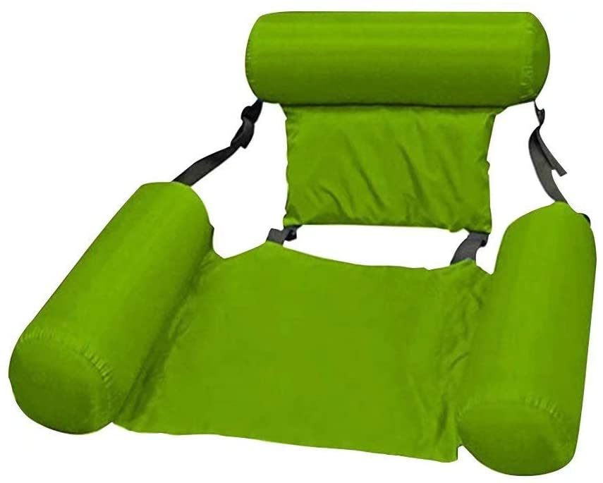 2020 New Inflatable Water Hammock Swimming Pool Floating Chair with Headrest, Portable Pool Lounge Swimming Pool Air Sofa Floating Chair Bed Drifter Swimming Pool Beach Float, Green 1-SET