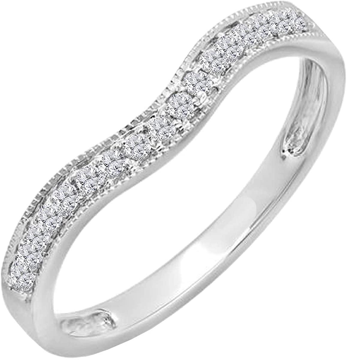 0.15 Carat (ctw) 10K Gold Round Diamond Ladies Anniversary Wedding Band Guard Ring