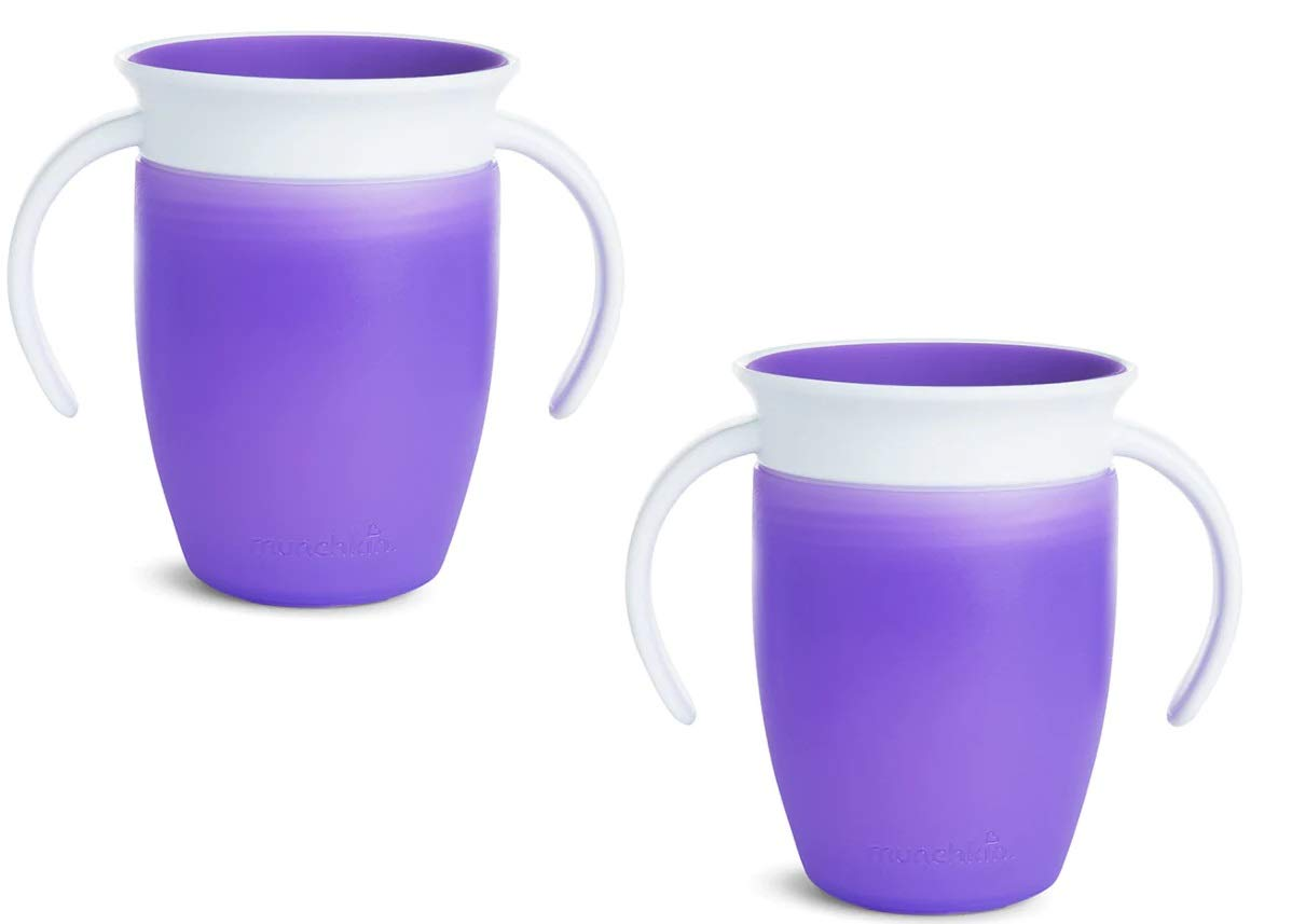 Munchkin Miracle 360 Trainer Cup Purple/Purple 2 Count (New Color)
