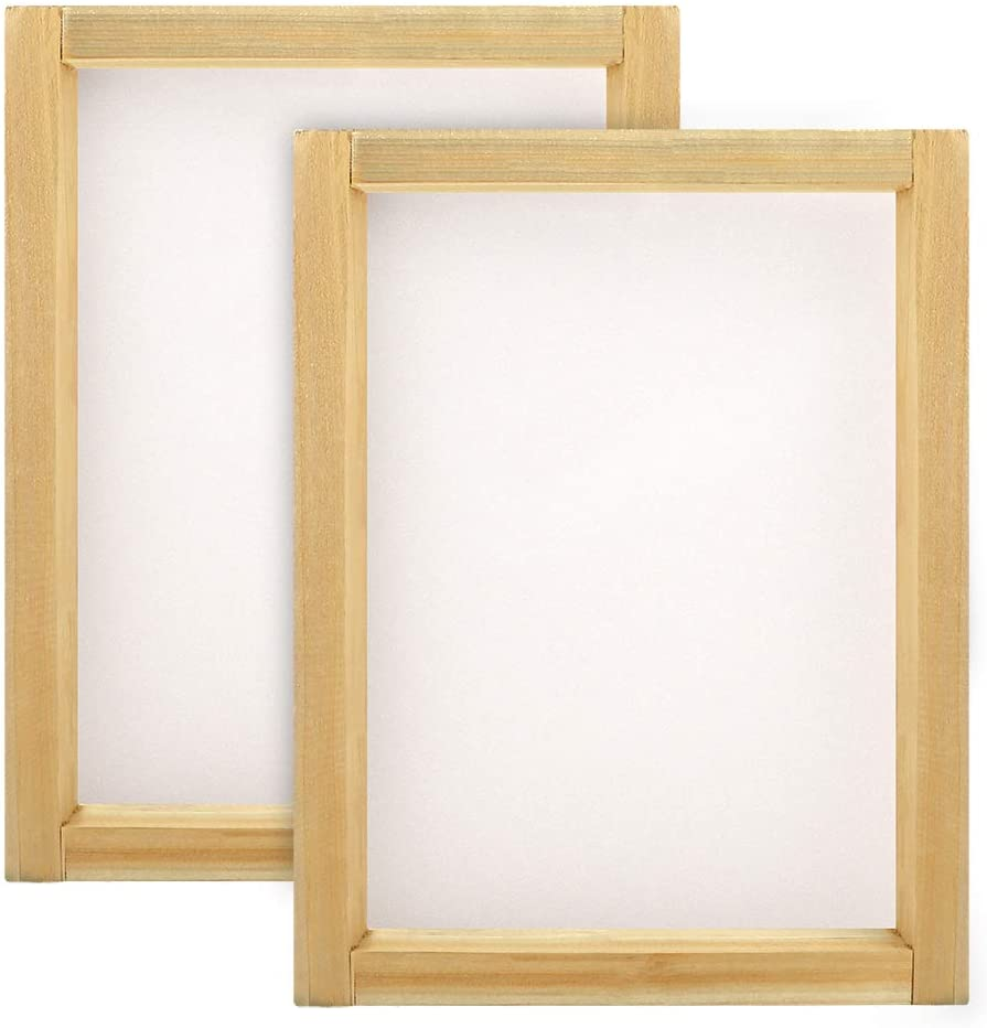 Caydo 2 Pieces 8 x 10 Inch Wood Silk Screen Printing Frames with 110 White Mesh