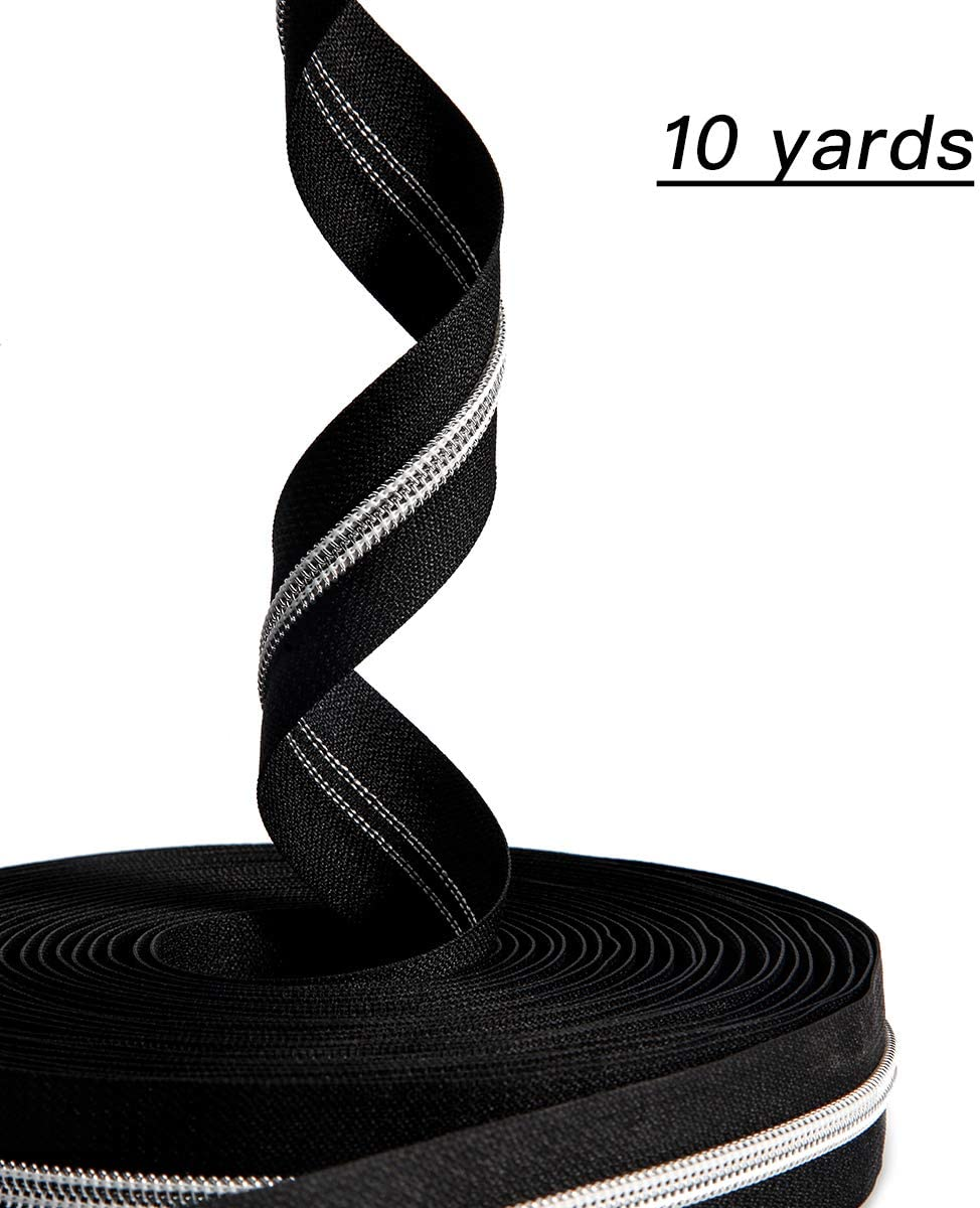 Nylon Coil Zippers #5- Sewing Zippers Bulk Silver Metallic Teeth- VOC DIY Zipper by The Yard Black with 20PCS Slider-Long Zippers for Tailor Sewing 10 Yards(Sliver Black)