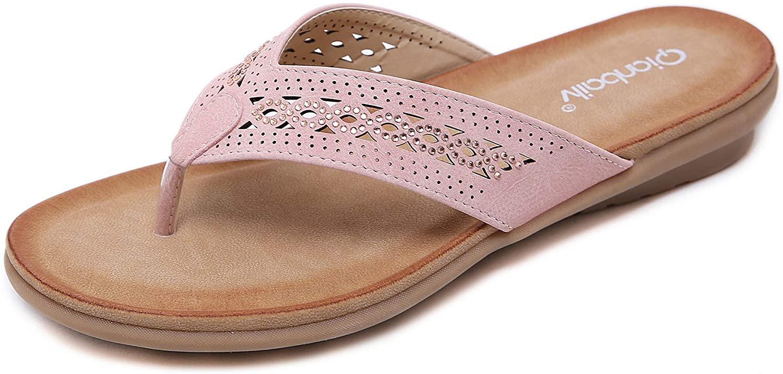 DolphinBanana Women Summer Glitter Rhinestones Openwork T-Strap Slippers