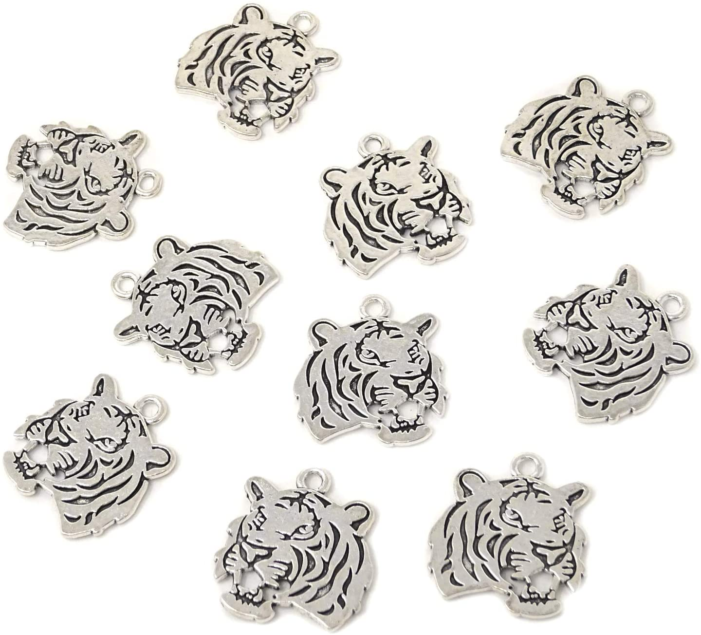 Honbay 10PCS Antique Silver Double Sided Tiger Head Charms Pendant - 27x24mm