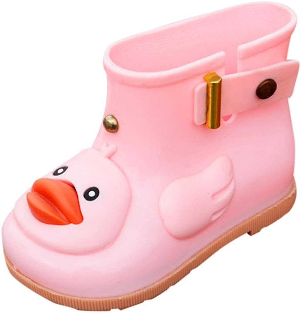 KONFA Teen Toddler Baby Boys Girls Cartoon Duck Rainshoes,Kids Warm Ankle Jelly Waterproof Rubber Rain Boots