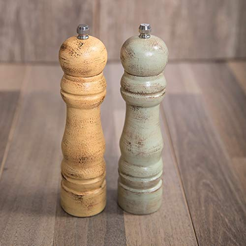 Pepper Mills Set for Salt and Pepper Rustic Handpainted with Ceramic Mechanism