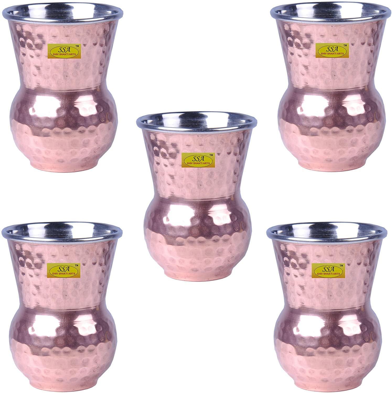 SHIV SHAKTI ARTS Handmade Steel Copper Hammered Matka Glass Set Of 5