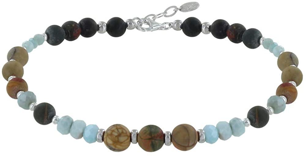 Les Poulettes Jewels - Bracelet Picasso Jasper Pearl Faceted Larimar Rings
