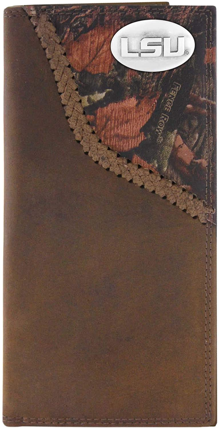 NCAA Lsu Tigers Camouflage Leather Roper Concho Wallet, One Size