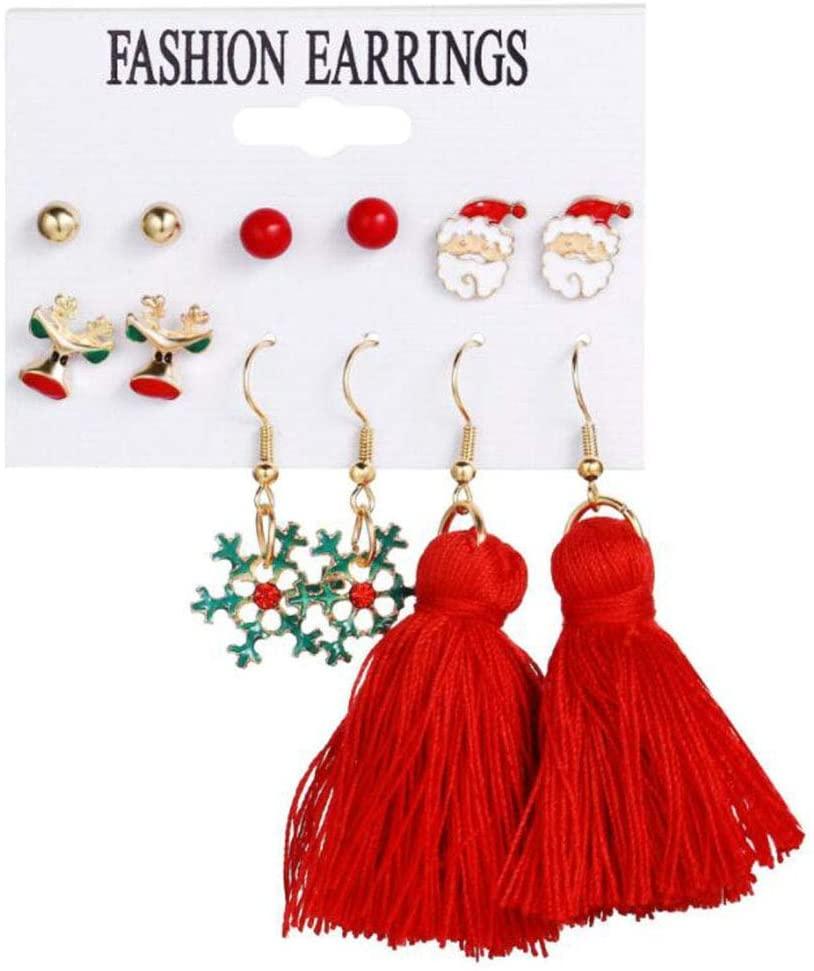 Christmas Earrings Holiday Gift Personality Santa Snowflake Earrings Set of 6 Pairs
