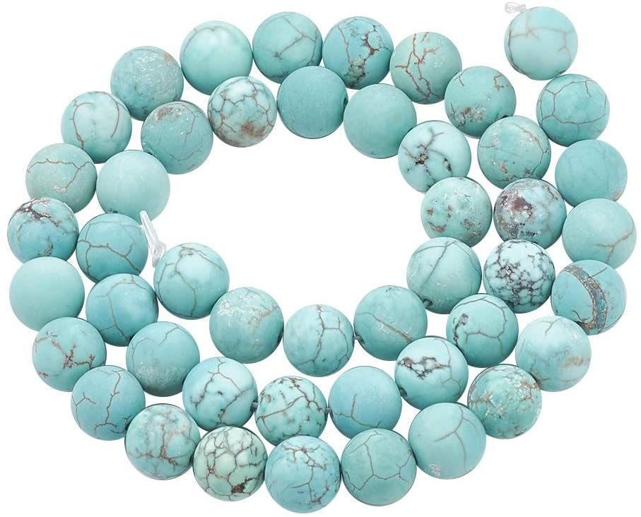 CHGCRAFT 5 Strands Natural Green Turquoise Beads Strands Frosted Round Natural Green Turquoise Beads Strands for Jewelry Making, 4mm, Hole 1mm