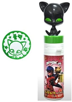 MLB005 Miraculous Ladybut Toy Stamp Plagg Tikki, with Vitamin C Candy Drops (Black-Plagg)