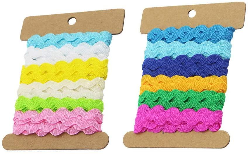 Milisten Rick Rack Trim Ribbons DIY Crafts Apparel Accessories Decoration 2 Rolls 8mm