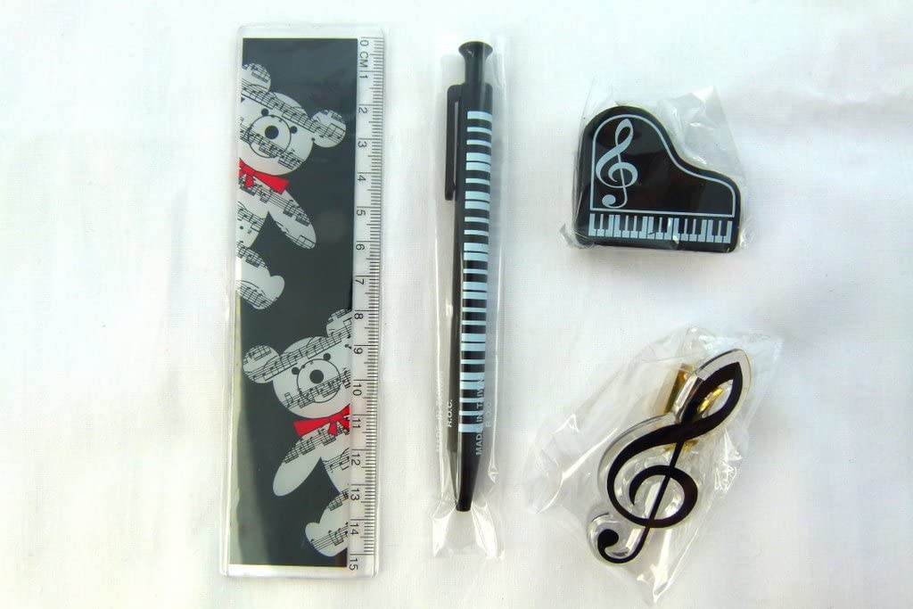 Music Themed Musical Bear Design - mechanical Pencil, Treble Clef Clip, Piano Shape Eraser and 15cm Ruler Stationery Set