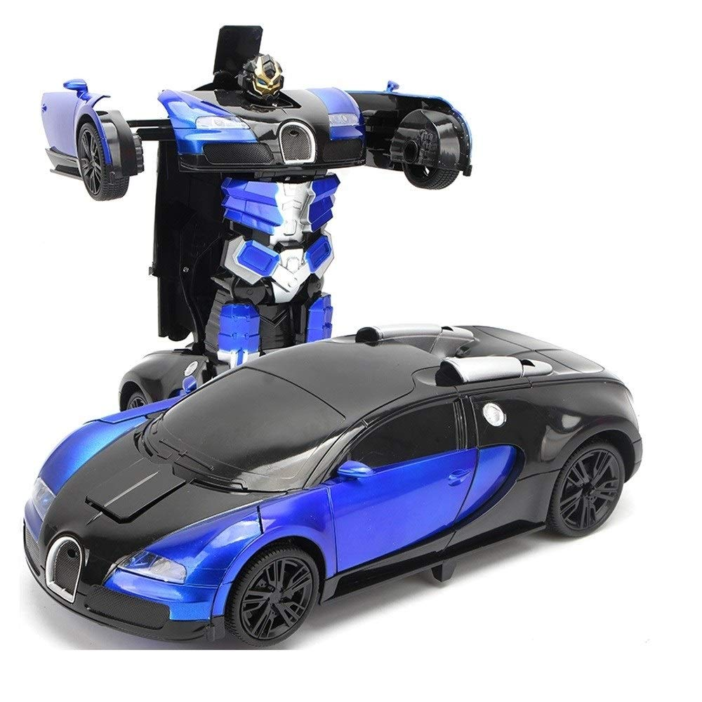 Ycco 1:14 Hand/RC Transform Car Robot, 2-in-1 Remote Control Deformation Robot Car Toys for Kids, Gesture Induction Deformation Vehicle Deform Robot, with 360° Rotating Stunt Easter Xmas Gifts- Blue