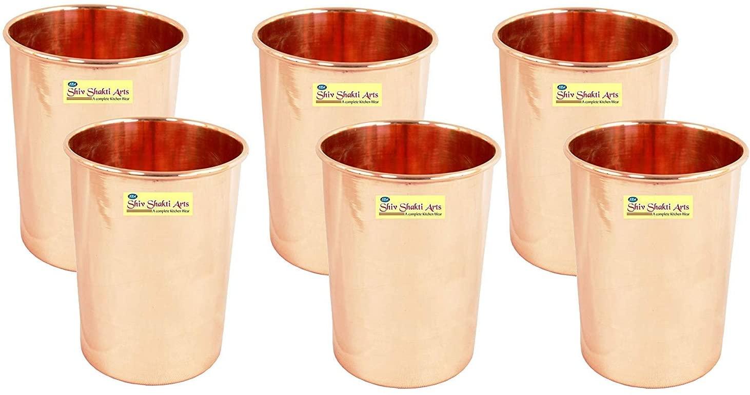 SHIV SHAKTI ARTS Handmade Pure Copper Plain Glass Set Of 6