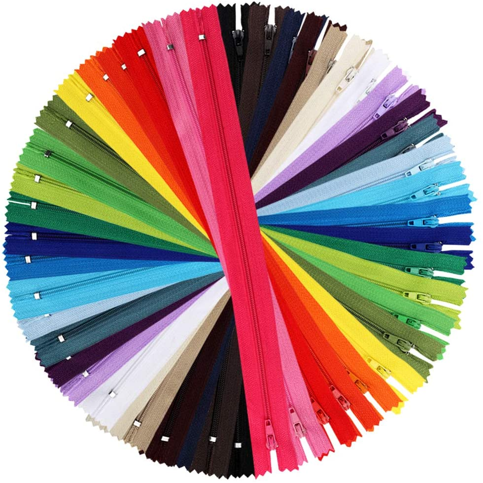 Outuxed 120pcs 12 Inches Nylon Coil Zippers Colorful Sewing Zippers for Tailor Sewing Crafts, 24 Assorted Colors