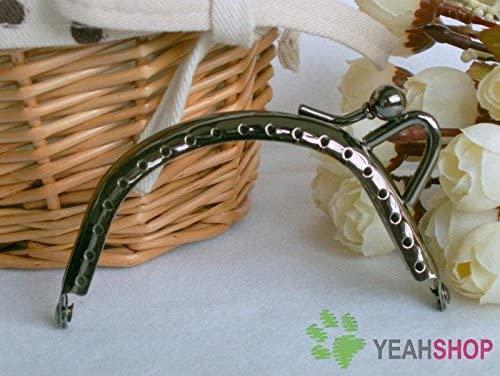 Gunmetal Half Round Lopsided Style Purse Frame - 8.5cm / 3.3 inch (PF85-31)