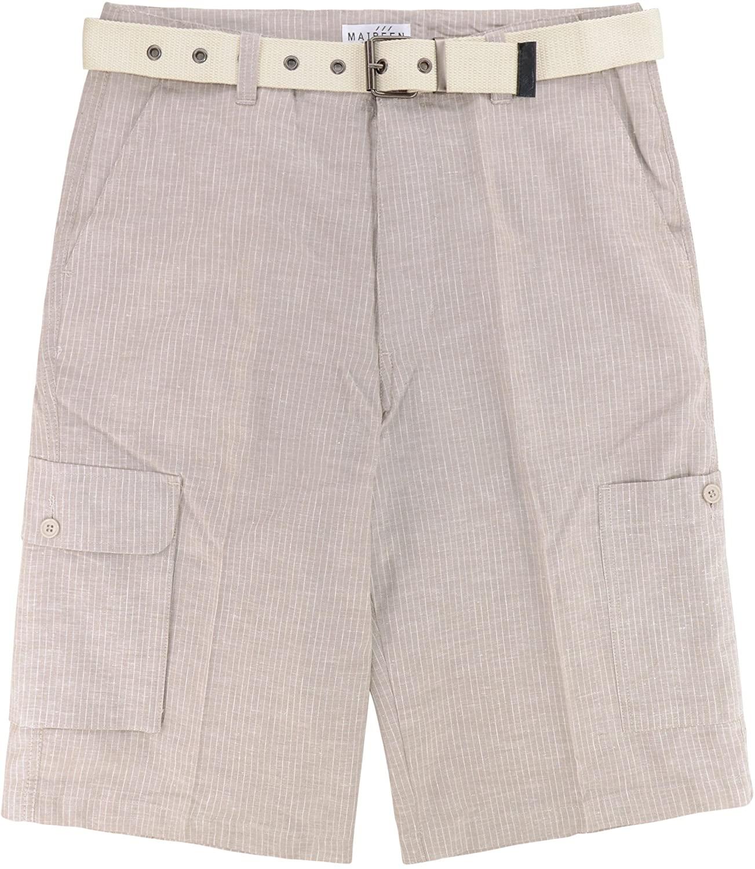 CONCITOR Men's Linen Cargo Shorts Flat Front Striped TAN White Short & Belt