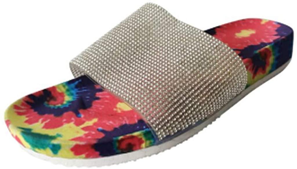 RUIVE Women's Flat Flipflop Summer Home Open Toe Slip On Multicolour Print Sequin Sandals