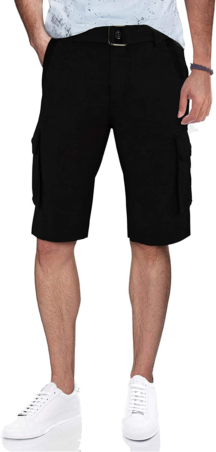 Men's Belted Twill Tape Cargo Shorts with Snaps | 12.5
