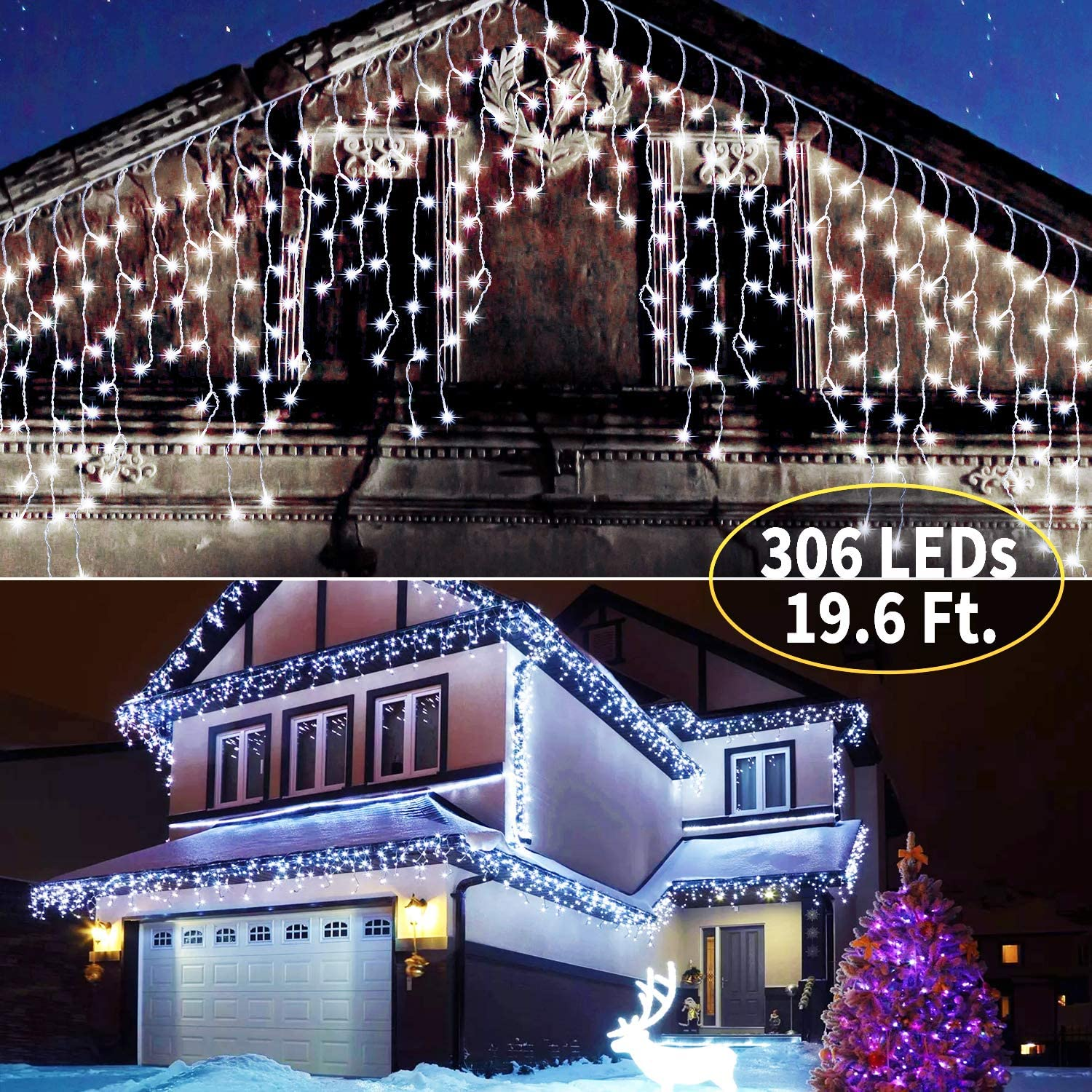 Brightown Icicle Lights: 306 LED 19.6 Ft. 54 Drops Christmas Lights Outdoor with Remote Control Set Time & 8 Light Modes for Christmas Halloween Party Decorations Icicle Curtain Lights | White