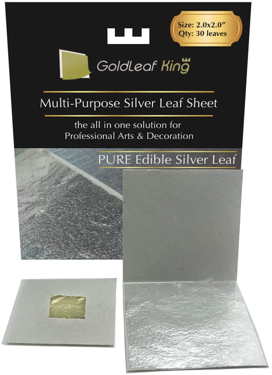 Genuine Edible Silver Leaf Sheets   Goldleafking   30 Sheets - 2.0 x 2.0 inches for Cooking, Cake & Chocolate, Silver Fondant, Edible Cake Decorations, Multi-Purpose + Free Small Gold Leaf x 10