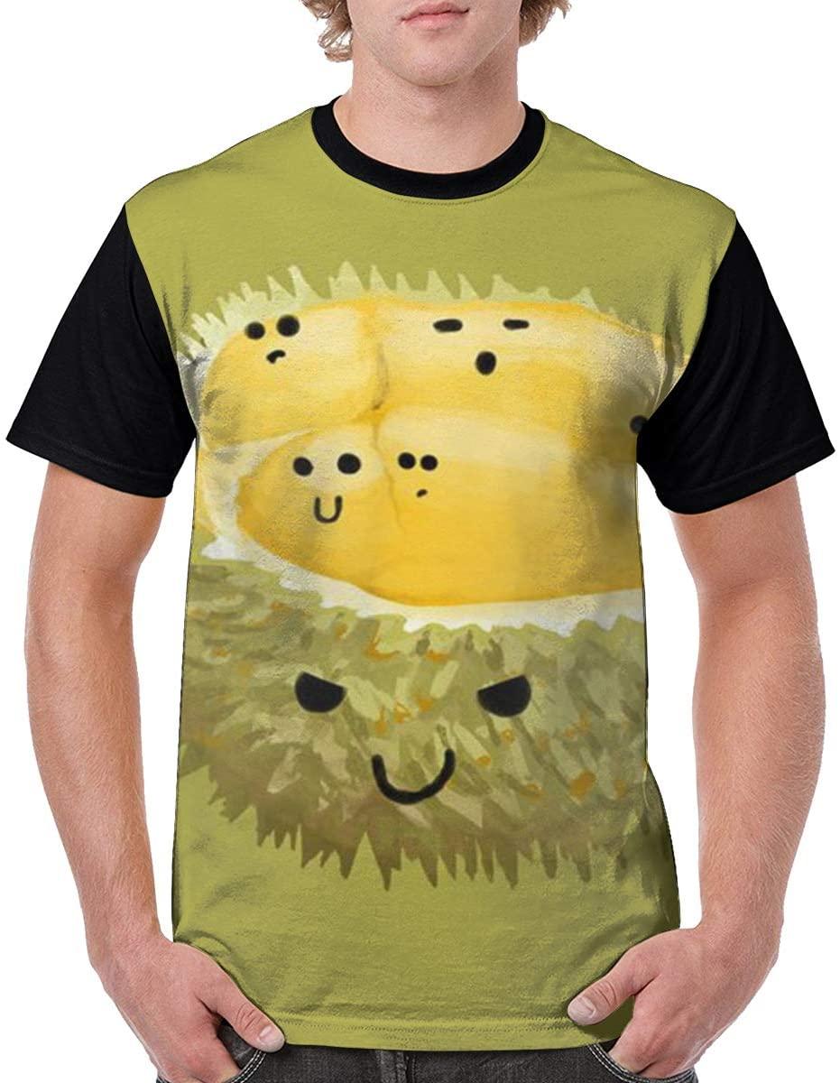 Qiazooa Summer Fashion Men Cool Short Sleeve Printed Tops Casual T Shirt Crew Neck Tshirts Cute Durian