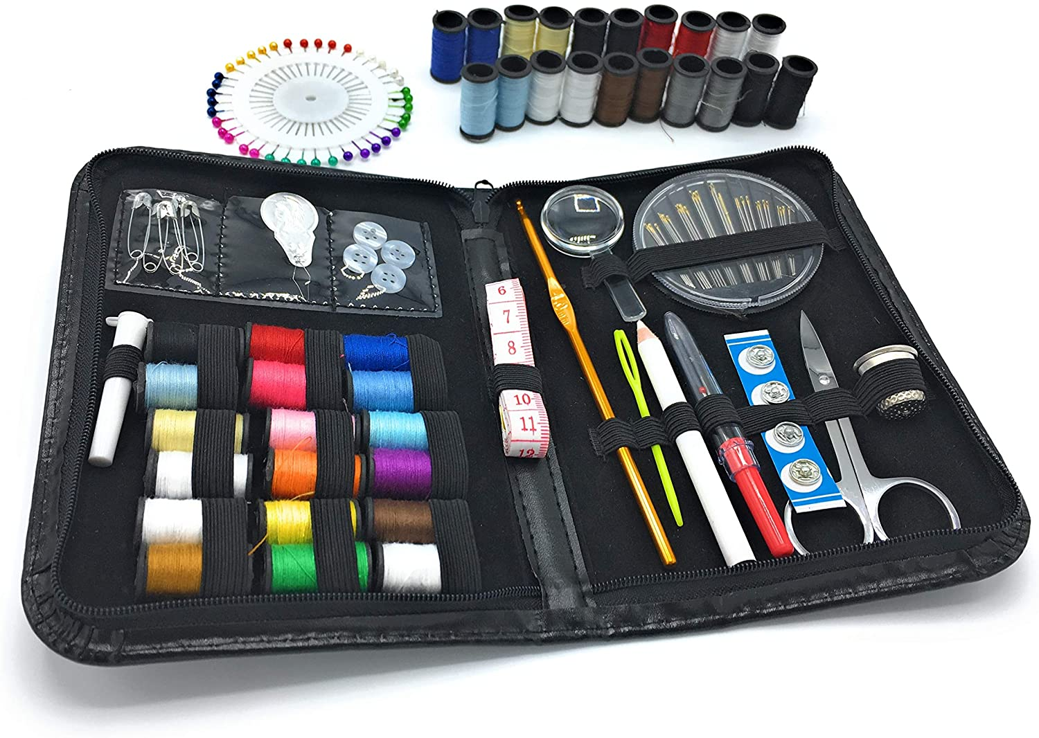 MYWONDERLING Sewing Kit 134 Premium Sewing Supplies 38 Spools Thread Colors Pin Clip Needle Scissor Thimble Tape Measure Compact Carrying Case Camper Traveller Emergency Tailor Home Office School